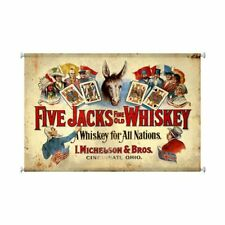 "FIVE JACKS FINE OLE WHISKEY CINCINNATI OHIO OH 38"" WALL HANGING CANVAS PRINT"
