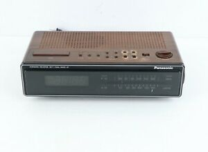 Vintage 80s Panasonic Wood Grain Bedside Alarm Clock AM/FM Radio Electric Brown