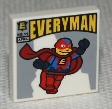 Lego New White Tile 2 x 2 with Simpsons EVERYMAN Comic Book Pattern