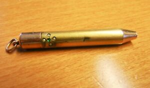 """ANTIQUE  ROLLED GOLD RETRACTABLE """"MAGIC"""" PENCIL WITH SEED PEARLS & GREEN STONE"""
