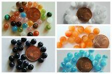 20 PERLES verre OEIL de CHAT rondes 6mm (bijoux) mix ou couleurs au choix