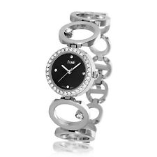 Edle Damenuhr Armbanduhr Stahl Silber Schwarz Strass Neu Top Uhr aus Insolvenz