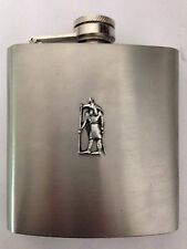 Anubis R201 English Pewter Emblem on a 6oz Stainless Steel Hip Flask