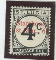 St Lucia Stamps Scott #J12 State Hood Overprint, MINT,H,Fine (X7679N)