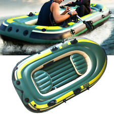 PVC Inflatable 3 Person Fishing Rowing Boat Raft Canoe Kayak Dinghy W/ 2 Cushion