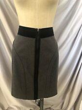 BCBG Small Skirt Gray Zipper Front Black Waist  Band Stretch Body Hugging