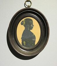 c.1825 antique folk art silhouette beautiful young woman gold paint