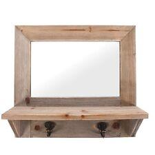 RUSTIC Driftwood RETTANGOLO LEGNO NATURALE Specchio parete in legno con ganci Scaffale NUOVO