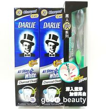 DARLIE All Shiny White Whitening Charcoal Clean Toothpaste 140g x2 Toothbrush x1