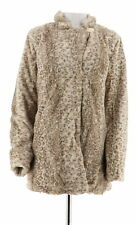 Dennis Basso Faux Fur Animal Print Blazer Long Sleeves Snap Ivory M NEW A270639