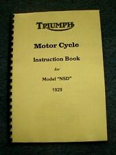 TRIUMPH NSD 5.49hp INSTRUCTION BOOK (OWNERS MANUAL) 1929 - PWTW01