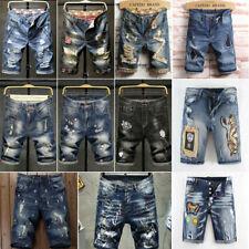 Hombres Pantalones Cortos De Mezclilla Jeans Cortos Mens corto Pantalón Pantalón Largo Hasta La Rodilla desgastados jeans corto