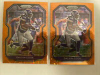 2x Lot Dalvin Cook 2020 Panini Prizm Orange Lazer + Disco #218 Vikings