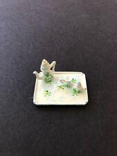 Dollhouse miniatures tiny tea set 4 piece with tray, pot, creamer and sugar bowl
