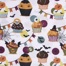 Baumwollstoff GOTS Bio Popeline Halloween Muffin Girlande weiß bunt 1,50m Breite