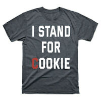 I Stand for Cookie Design Men's Tee Black Cotton Short Sleeve T-Shirt Shirt Gift