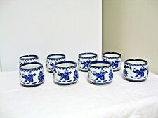 Lot 8 Older Asian Chinese/Japanese Cups-Men,Tree w/Butterfies,Floral-Shell Edge