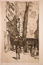 "gravure à l'eau-forte Charles Huard ""la rue Brise-Miche"" Paris pittoresque,1906"
