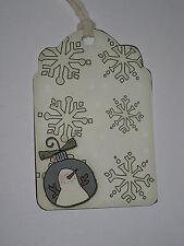 Primitive 10 Snowman Snow Flake Hang Tags (Cs-Sf)