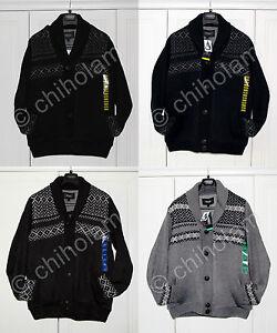 Mens Ridge Point Wool Fleece Sweater Cardigan Jacket Black Grey Blue S M L XL