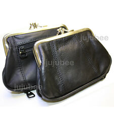 Leather Womens Wallet Metal Frame Coin Purse