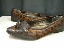 Born Brown Leather Loafer Size 7.5 38.5 Women's Pony Hair Leopard Oxford
