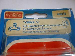 Schläfer T-Stück 3/8 455810 Quetschverschraubung für Kupferrohre 8mm Neu OVP