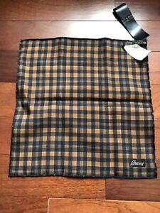 NWT Men's Brioni Pocket Square Handkerchief Orange/Navy Plaid