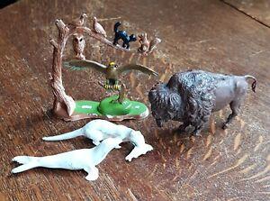 Britain's Plastic Zoo Animals including, Buffalo, Seal, Eagle, Cats c.1970's