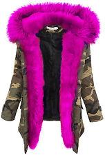Damen winter parka jacke army-look damenjacke kunstfell kapuze warm 36 38 40