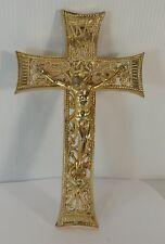 """Très belle croix baroque dorée """"dentelle"""" de 16 cm"""