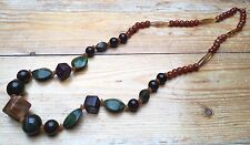 Vintage Bobble Bead Necklace/Retro Style/Green/Brown/Chunky/Marbled Plastic