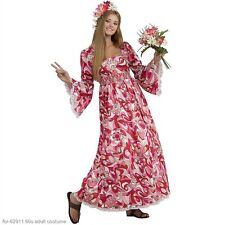 Hippie Maxi Dress 60's Style Pink & Red Floral Empire Waist Bell Sleeved Costume