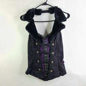 Tripp NYC Bustier Corset Black Purple Goth Punk Faux Fur Collar Steampunk Size L