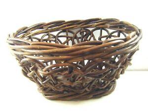 Vintage Open Woven Wicker Willow Rattan Storage Basket