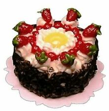 Dollhouse Miniature - Strawberry Topped Pineapple Ring Cake - 1:12 Scale