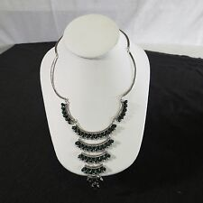 Mexico sterling silver malachite  petit point chandelier vtg Necklace TS-35 925