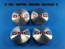 4 Center Caps Brushed Logo For GMC Sierra Yukon 83mm 3.25 2015 - 2017 22837060