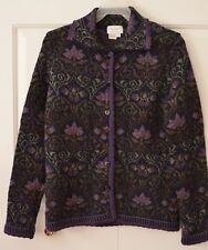 Cherry Lewis Women's S Heavy Knit Wool Cardigan Purple Floral England
