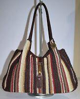 The SAK Bag Crochet Brown Stripe Shoulder Bag Style Easy Carry Soft Purse  Hobo