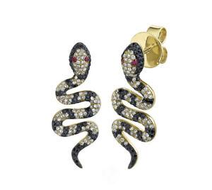 Black White Diamond Snake Earrings 14K Yellow Gold Ruby Eyes Drop Natural Round
