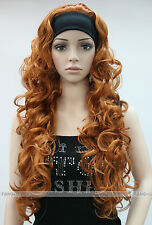 Brown-yellow Long Curly Wave women Daily 3/4 half wig with headband FYTLG038