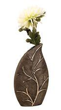 FLORERO MODERNO EN FORMA DE HOJA hecho de cerámica plata / Gris Altura 35cm