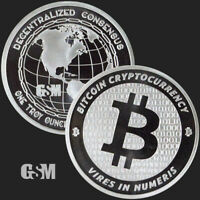 Bitcoin 1oz .999 Silver Golden State Mint GSM Round Coin Vires In Numeris Crypto