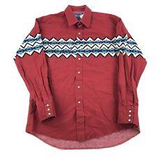 Vintage Wrangler Mens Red Western Aztec Stripe Button Down Shirt Pearl Snap Sz L