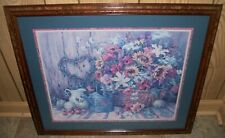 """Home Interiors Homco Flowers Blue Matte Barbara Mock Picture 22 1/2"""" x 26 1/2"""""""