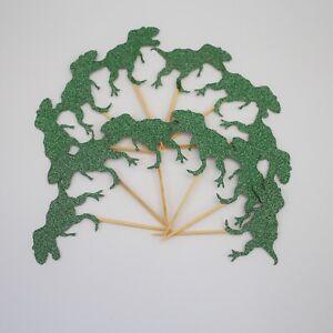 Green Glitter Dino Cake Toppers T-Rex Cupcake Toppers Jurassic Cupcake Picks