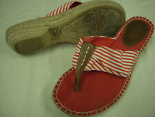 Cliffs by White Mountain Cell Striped Fabric Thong Espadrilles Sandals 7 M Red r
