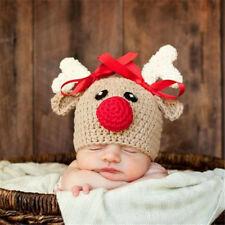 Christmas Deer Newborn Photography Props Hats Knitting Crochet 0-4 Months Baby