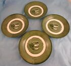 Set of 4 Dessert Bowls Colonial Homestead Royal Green White Well Bucket 6 Inch